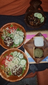 Veggie Burger Salad. Sauteed Eggplant. Homemade Mung Bean Hummus and Vegan Ranch.